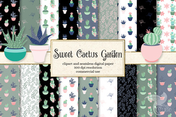 Sweet Cactus Garden seamless patterns, digital paper, and clipart