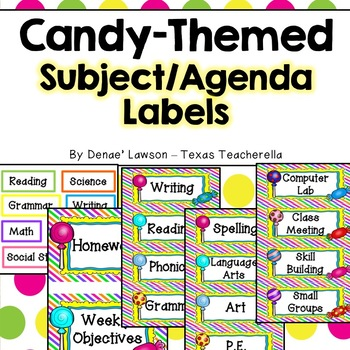 Sweet Candy Themed Classroom Subject/Agenda/Schedule & Blank Labels