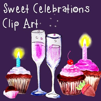 Birthday Card Clip Art, Cupcakes & Candles ~ Hand Painted Watercolor Clip Art