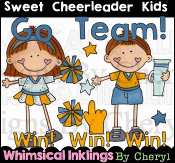 Sweet Cheerleader Kids Clipart Collection