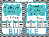 Chevron Alphabet AND Number Posters {Half Size/Blue}