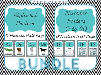 Chevron Alphabet AND Number Posters {D'Nealian - Half Size/Blue}