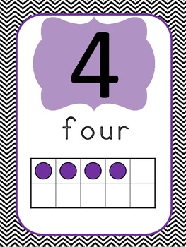 Chevron Number Posters (0 to 20) with Ten Frames
