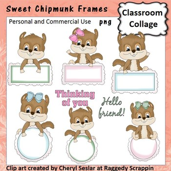 Sweet Chipmunk Frames Clip Art personal & commercial use C Seslar