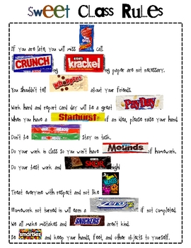 Sweet Class Rules with a CANDY Theme!