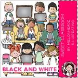 Sweet Classroom clip art - BLACK AND WHITE - Melonheadz Clipart