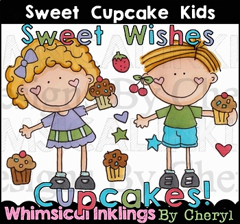 Sweet Cupcake Kids Clipart Collection