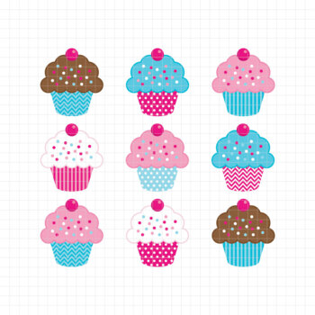 Sweet Cupcakes-Digital Clipart (LES.CL04B)