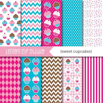 Sweet Cupcakes-Digital Paper (LES.DP04B)
