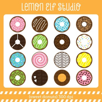 Sweet Donuts-Digital Clipart (LES.CL06)