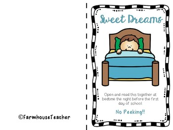 Sweet Dreams Confetti Card- Back to School or Meet the Teacher Night