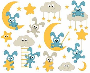 Sweet Dreams Cute Bunnies Clip Art - Good Night Bunnies Clipart - Moon, Stars