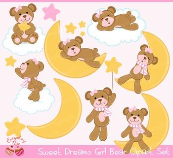 Sweet Dreams Girl Bear Clipart