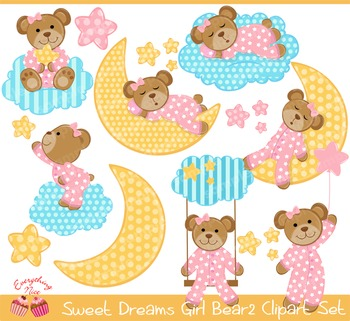 Sweet Dreams Girl Bear Clipart2