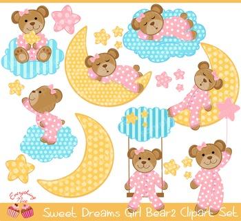 Sweet Dreams Girl Bear Clipart2