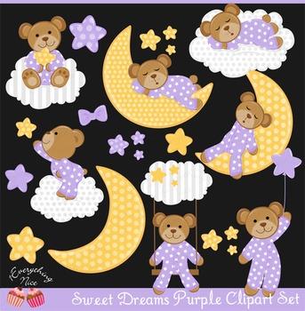 Sweet Dreams Purple Bear Clipart Set