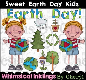 Sweet Earth Day Kids Clipart Collection