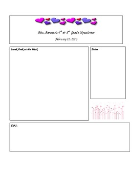 Sweet Editable February Newsletter Template