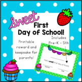 Sweet First Day of School Reward Keepsake Cards Cupcake Theme