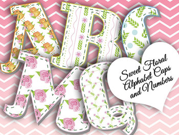 """Sweet Floral Alphabet • Caps and Numbers • Vector PDF • 300 DPI PNG • 3.5"""" High"""