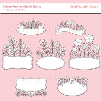 Sweet Flower Frames and Labels Clipart Digital Stamp