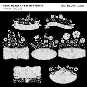 Sweet Flower Frames and Labels Clipart in Chalkboard Pattern