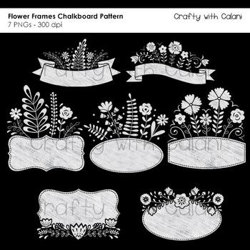 Sweet Flower Frames and Labels Clipart in Chalkboard Pattern