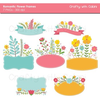 Sweet Flower Frames and Labels Clipart in Pastel Colors