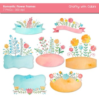 Sweet Flower Frames and Labels Clipart in Watercolor