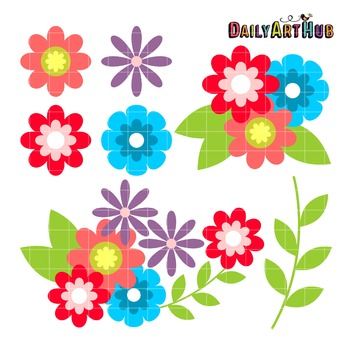Sweet Flowers Clip Art - Great for Art Class Projects!