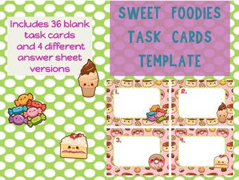 Sweet Foodies Dessert emojis Task Cards Template