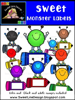 Sweet, Fuzzy Monster Labels {Sweet Line Design Clipart}