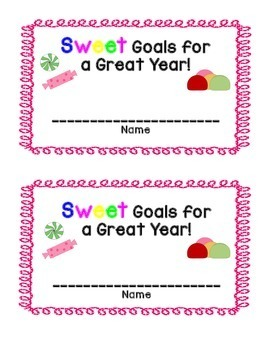 Sweet Goals for a Great Year (3,4,5 back to school/first day goal setting)
