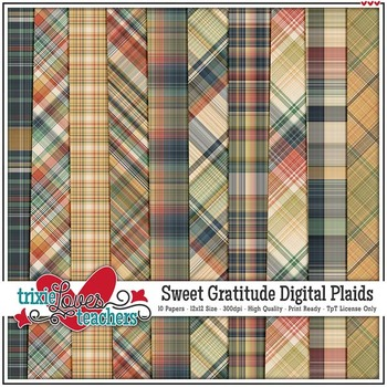 Sweet Gratitude Digital Plaid Papers