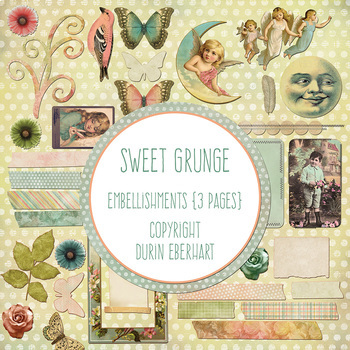 Sweet Grunge Printable Digital Paper, Embellishments and Alphas