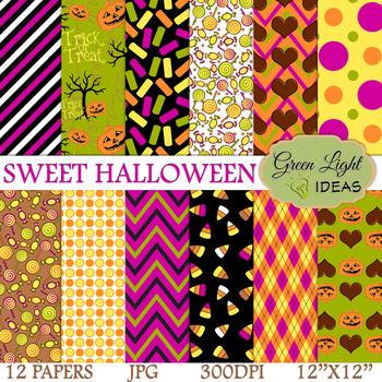 Sweet Halloween Digital Papers / Halloween Backgrounds / Halloween Papers