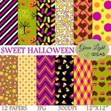 Sweet Halloween Digital Papers / Halloween Backgrounds / H