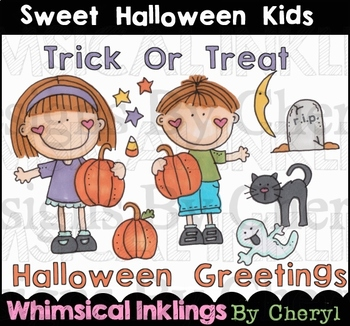 Sweet Halloween Kids Clipart Collection
