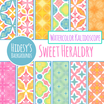 Sweet Heraldry Watercolor Digital Papers / Backgrounds Clip Art Set