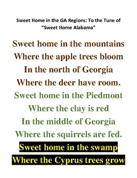 Sweet Home in the GA Regions Song