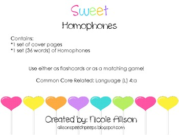 Sweet Homophones Leveled {Freebie}
