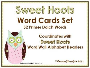 Sweet Hoots Dolch Primer Word Set
