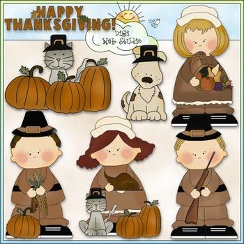 Sweet Little Pilgrims Clip Art - Thanksgiving Clip Art - CU Colored Clip Art