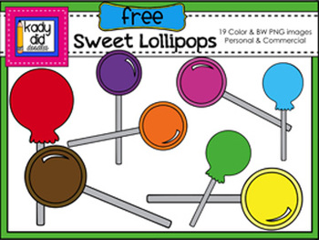 Sweet Lollipops {19 Color & BW PNG images}