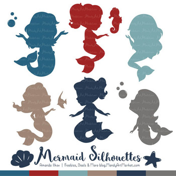Sweet Mermaid Silhouettes Vector Clipart in Americana