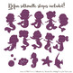 Sweet Mermaid Silhouettes Vector Clipart in Autumn