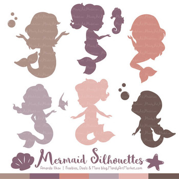 Sweet Mermaid Silhouettes Vector Clipart in Buff