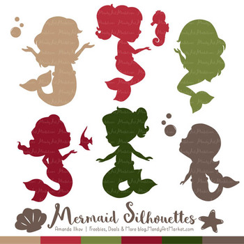 Sweet Mermaid Silhouettes Vector Clipart in Christmas