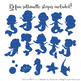 Sweet Mermaid Silhouettes Vector Clipart in Crayon Box Boy