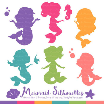 Sweet Mermaid Silhouettes Vector Clipart in Crayon Box Girl
